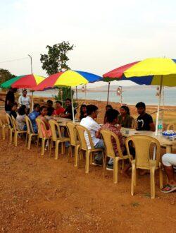Pawna lake camping breakfast sitting arrangement