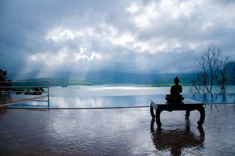 Sweeming pool with beautiful view of Pawna Lake